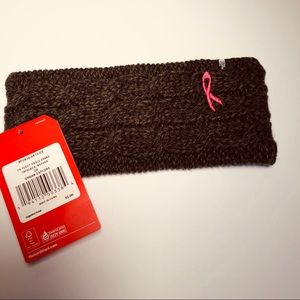 NWT TNF- Pink Ribbon Fuzzy Cable Earband in Black